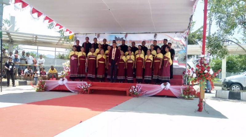 5 Grup Nyanyi Asal Timor Leste Ikut Festival Paduan Suara Gerejawi Indonesia - Timor Leste Tahun 2019 di PLBN Mota'ain/theeast.co.id