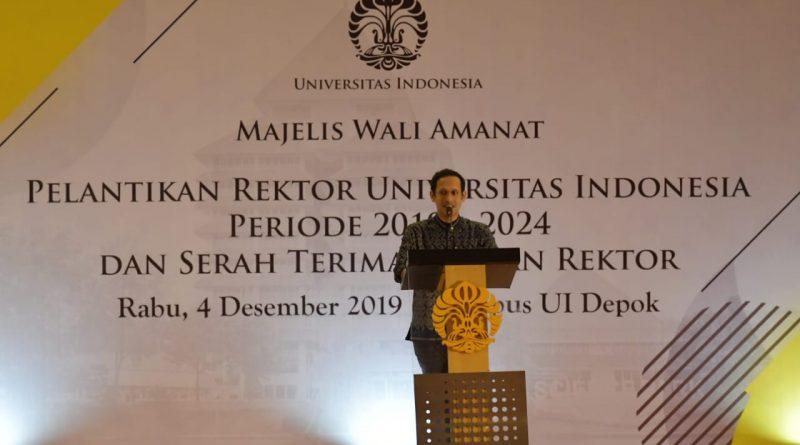 Mendikbud Bicara SDM Unggul Pada Pelantikan Rektor UI Periode 2019-2024/theeast.co.id