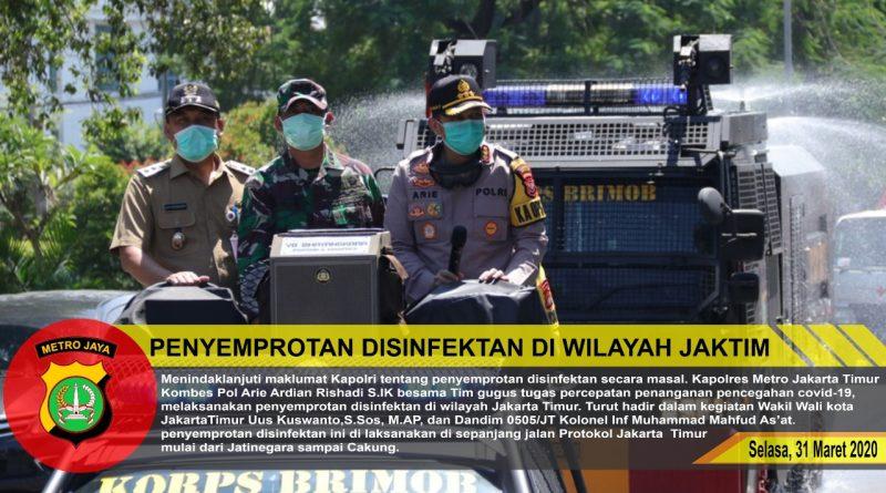 Dandim 0505/JT Bersama Muspiko Giat Penyemprotan Disinfektan di 10 Kecamatan Wil. Jakarta Timur/theeast.co.id