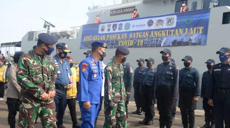 Dukung PSBB Surabaya Raya, Danlantamal V Pimpin Gelar Pasukan Satgas Angkutan Laut Covid-19/theeast.co.id
