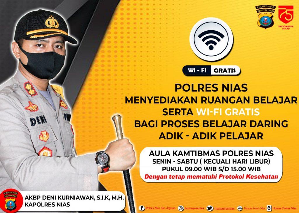 Peduli Pendidikan, Polres Nias Sediakan Ruang Belajar dan Wifi Gratis Bagi Pelajar/theeast.co.id